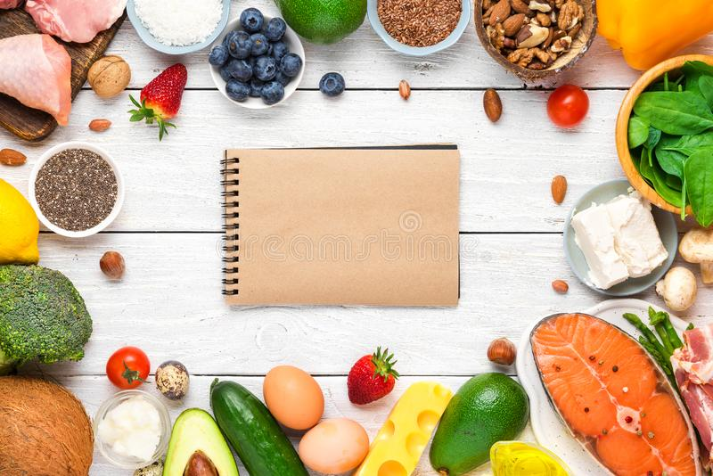 Keto or ketogenic diet, low carb, high good fat. healthy food. top view. With copy space stock image