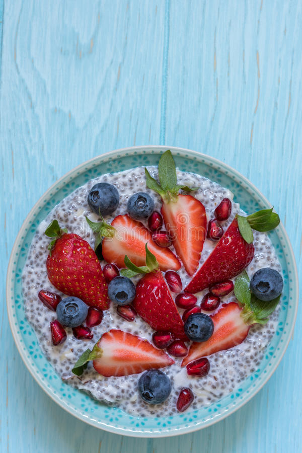Keto ketogenic, paleo low carb diet not oatmeal breakfast porridge. Coconut Chia Pudding with berries, pomegranate seeds stock photography