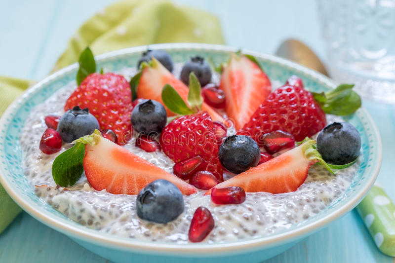 Keto ketogenic, paleo low carb diet not oatmeal breakfast porridge. Coconut Chia Pudding with berries, pomegranate seeds. Keto ketogenic, paleo low carb diet not stock photo