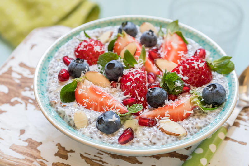 Keto ketogenic, paleo low carb diet not oatmeal breakfast porridge. Coconut Chia Pudding with berries, pomegranate seeds royalty free stock image