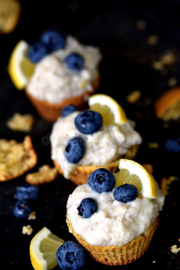 Keto muffins on messy dark background stock photography