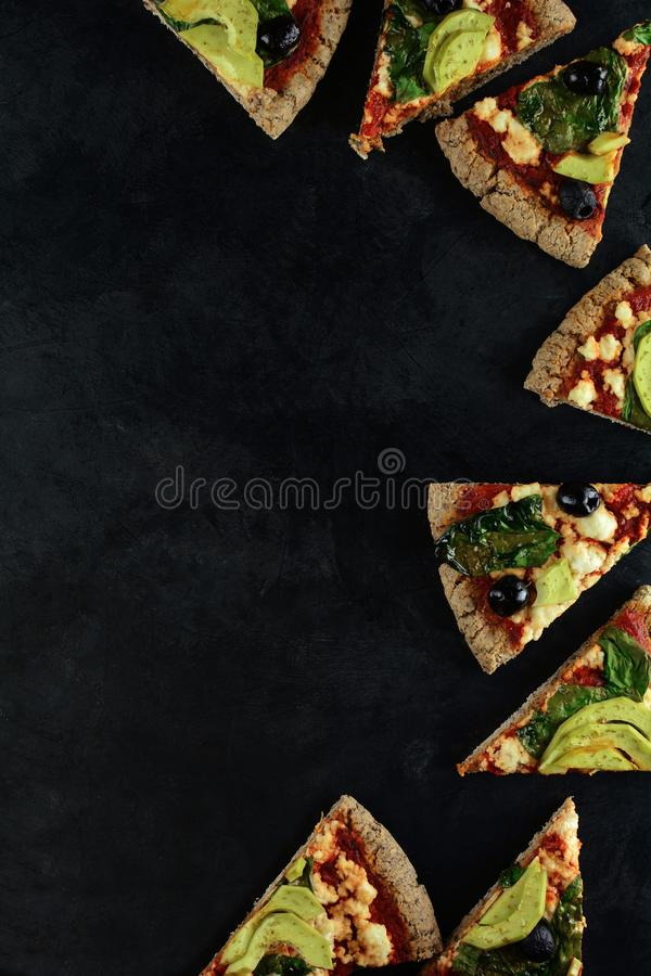 Keto Pizza with Sugar Free Tomato Paste, Crumbled Cheese, Spinach, Avocado and Olives. A set of photos showing low-carb, sugar-free keto diet pizza with keto stock images