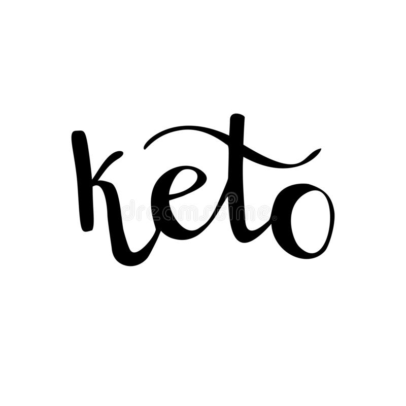 Keto Vetor que rotula a ilustração de uma palavra escrita da mão para o logotipo, etiqueta, projeto em comer saudável, dieta keto ilustração stock