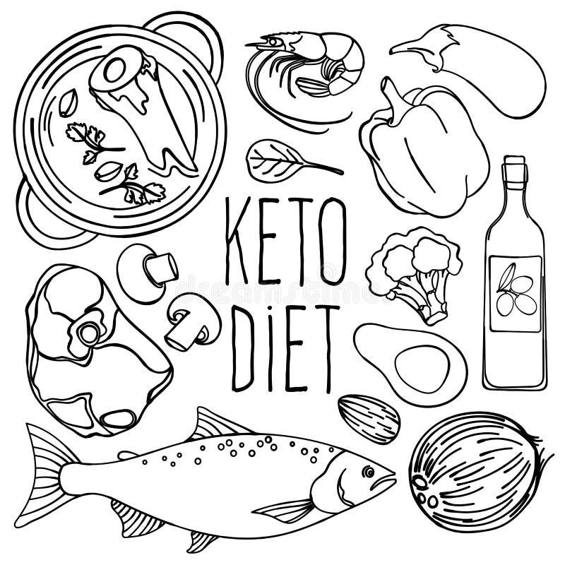 KETO ZWART-WIT Gezonde Vector de Illustratiereeks van het Voedseldieet vector illustratie