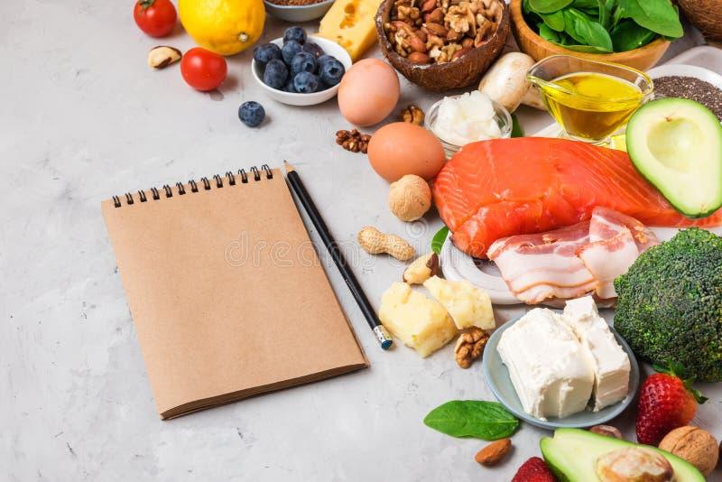Ketogenic еда диеты Здоровые низкие продукты карбюраторов Концепция диеты Keto Овощи, рыбы, мясо, гайки, семена, ягоды, сыр стоковое изображение