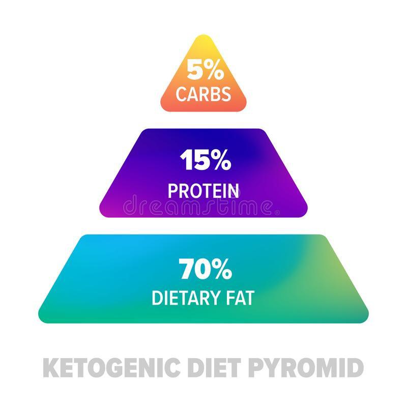 Ketogenic banta pyramiden Sund Keto bantar protein, carbs och fet näring i procent royaltyfri illustrationer