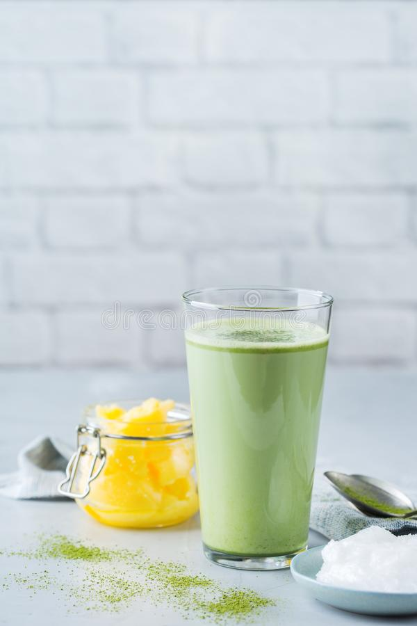 Ketogenic bulletproof matcha latte tea, coconut oil and ghee butter. Healthy clean eating concept, keto, ketogenic diet, breakfast morning table. Bulletproof royalty free stock photography