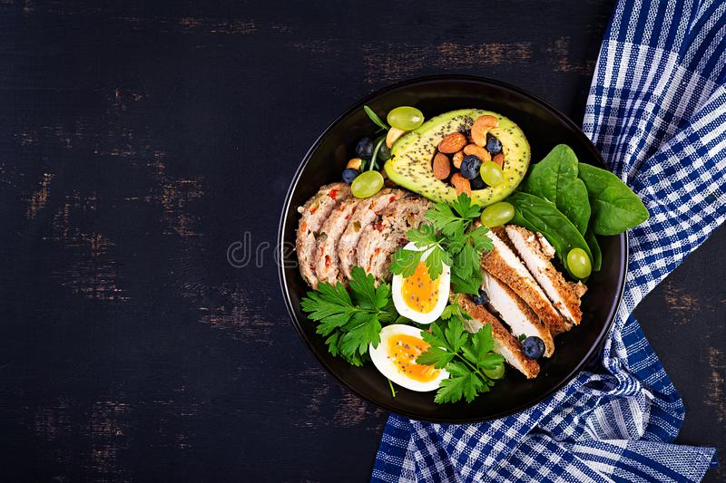 Buddha bowl dish with meatloaf, chicken meat, avocado, berries and nuts. Ketogenic diet. Buddha bowl dish with meatloaf, chicken meat, avocado, berries and nuts royalty free stock images