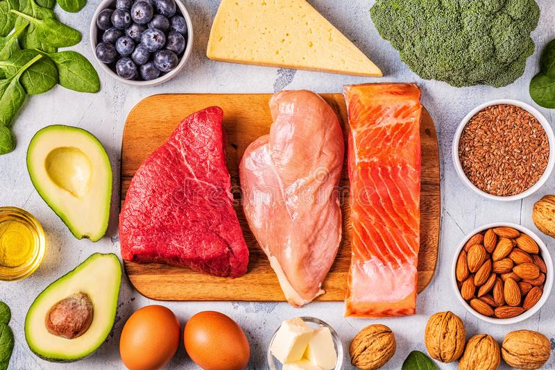 Balanced low carb, high good fat , healthy food. Ketogenic diet concept. Balanced low carb, high good fat , healthy food royalty free stock photography