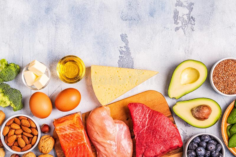 Balanced low carb, high good fat , healthy food. Ketogenic diet concept. Balanced low carb, high good fat , healthy food stock photos