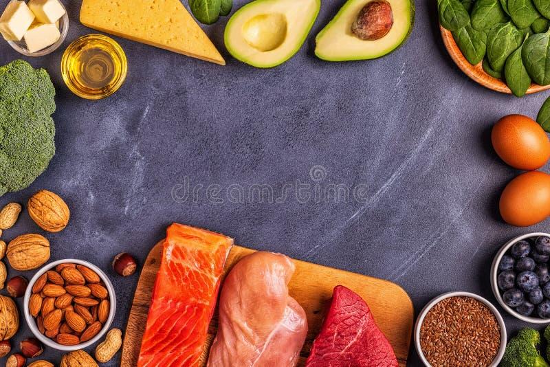 Balanced low carb, high good fat , healthy food. Ketogenic diet concept. Balanced low carb, high good fat , healthy food stock photo