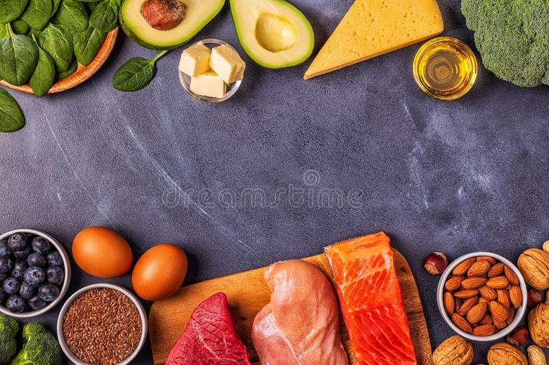 Balanced low carb, high good fat , healthy food. Ketogenic diet concept. Balanced low carb, high good fat , healthy food stock photography
