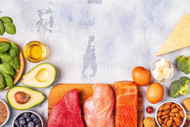Balanced low carb, high good fat , healthy food. Ketogenic diet concept. Balanced low carb, high good fat , healthy food royalty free stock images