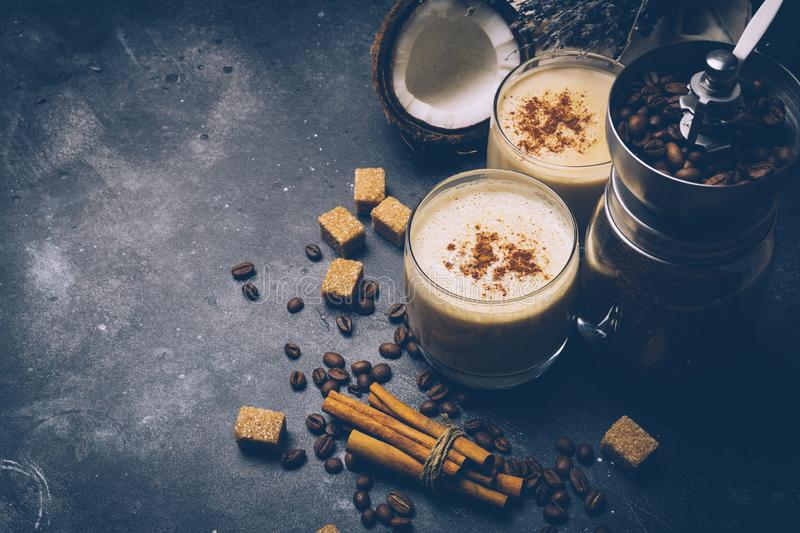 Ketogenic diet concept. Ketogenic latte with coconut oil. royalty free stock photos