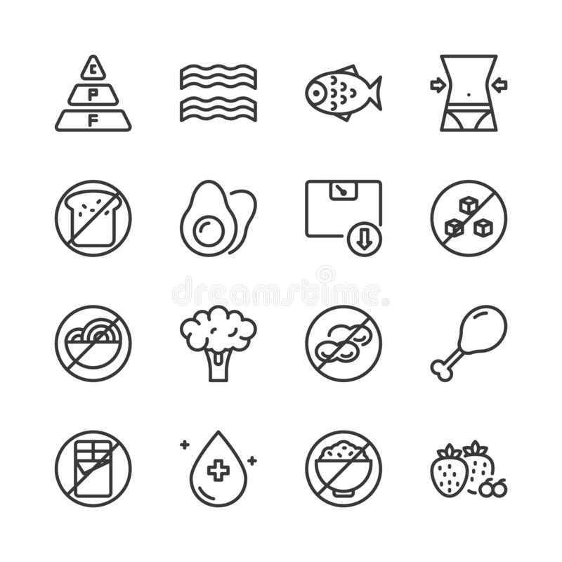 Paleo Icon Set Stock Vector. Illustration Of Meal, Healthy