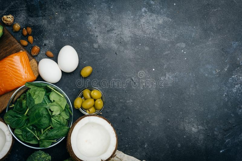 KETOGENIC DIET. Low carbs hight fat products. Healthy eating food, meal plan protein fat. Healthy nutrition. Keto lunch. Ketogenic royalty free stock photography
