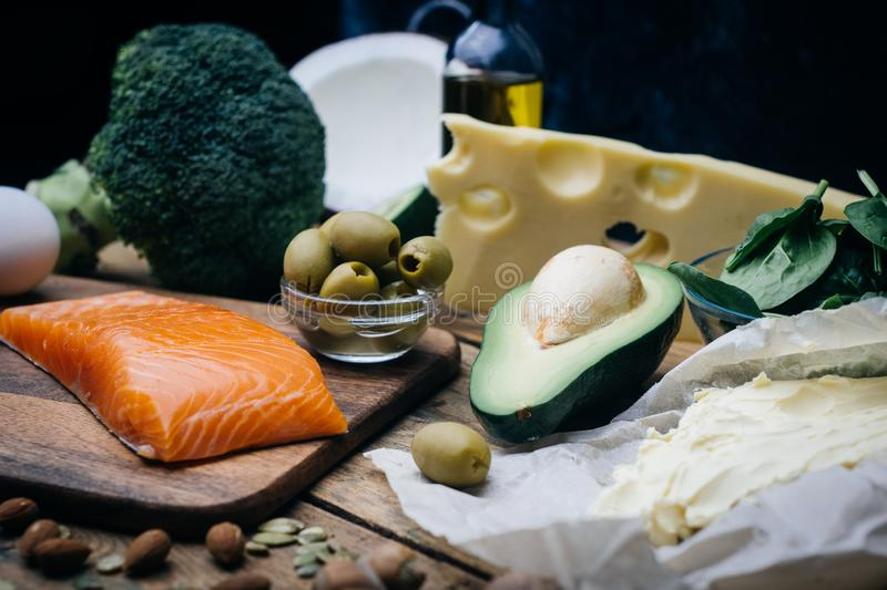 KETOGENIC DIET. Low carbs hight fat products. Healthy eating food, meal plan protein fat. Healthy nutrition. Keto lunch. stock images
