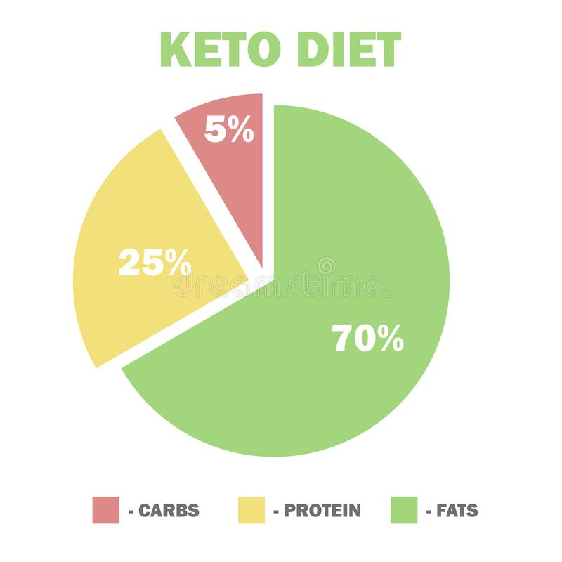 Ketogenic diet macros diagram, low carbs, high healthy fat. Vector illustration for infographic stock illustration