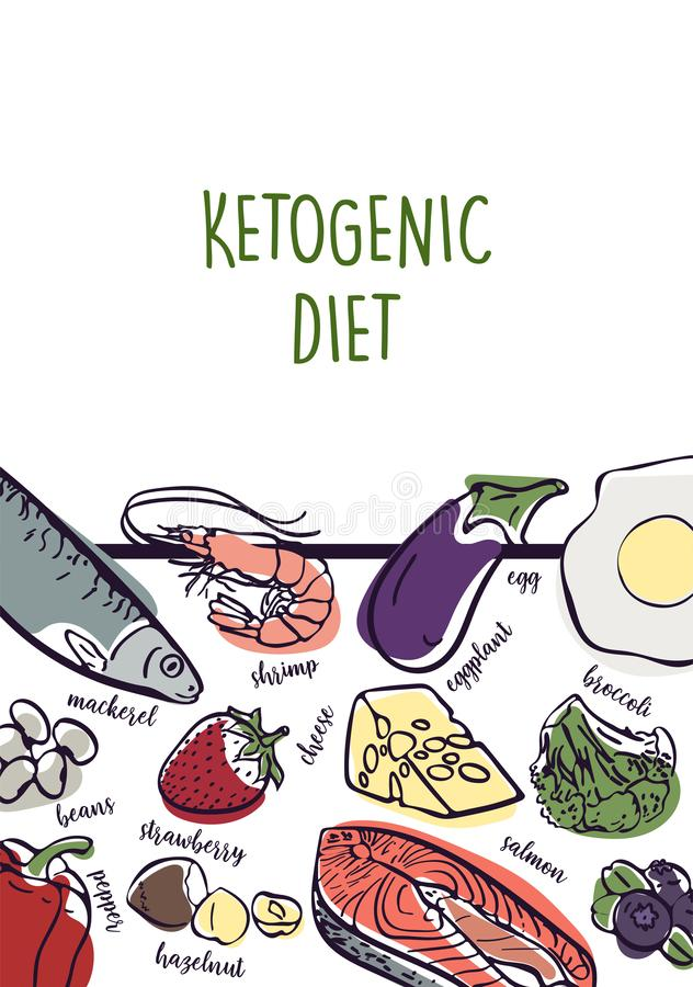 Ketogenic Diet vector sketch banner illustration. Healthy concept with food illustration collection - fats, proteins and vector illustration