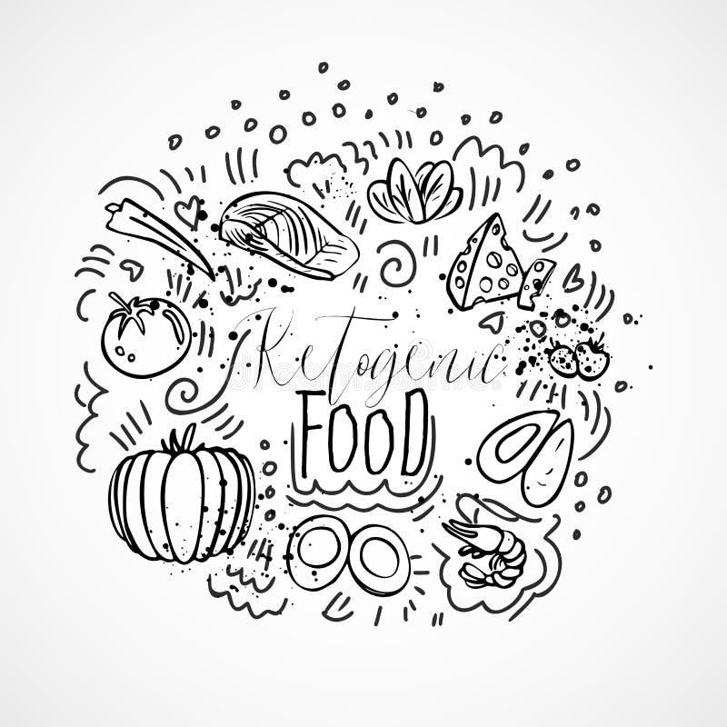Ketogenic hand van de Voedselschets trekt illustratie - zwart-wit vectorschets gezond concept Gezond keto voedselconcept vector illustratie