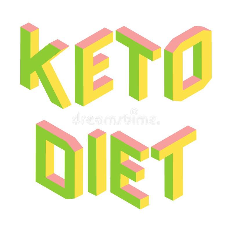 Ketogenic, Keto dieet, kleurrijke 3d geïsoleerde brieven, embleem royalty-vrije illustratie