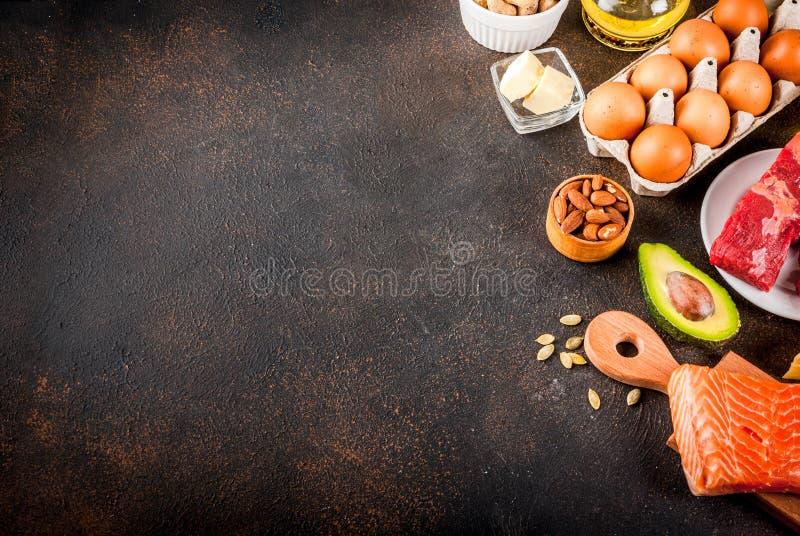 Ketogenic låga carbs bantar begrepp Sund allsidig mat med hig arkivfoton