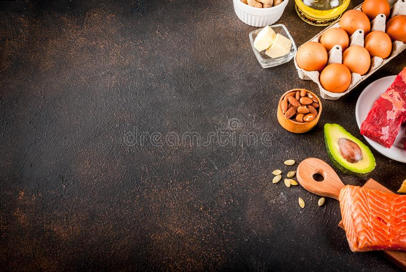 Ketogenic low carbs diet concept. Healthy balanced food with high content of healthy fats. Diet for the heart and blood vessels. Organic ingredients, dark stock photos