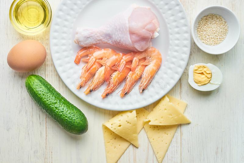 Ketogenic low carbs diet concept. Healthy eating and living, top view stock photos
