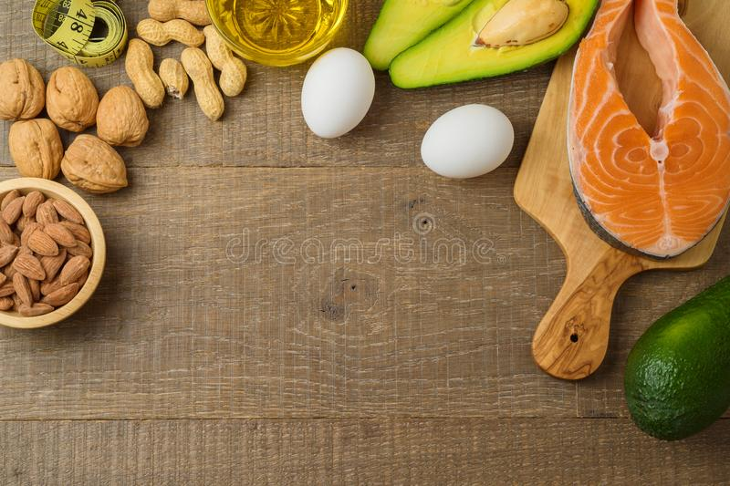 Ketogenic low carbs diet concept stock images