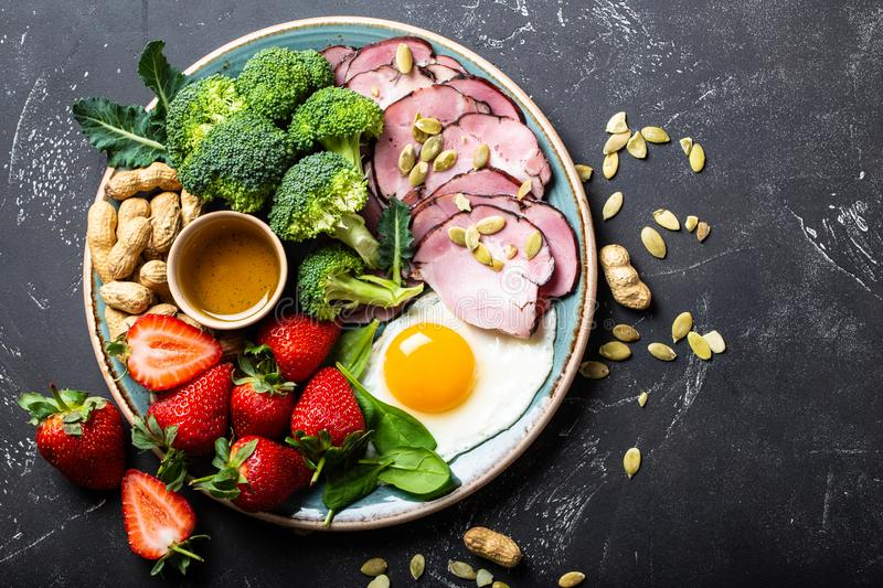 Ketogenic low carbs diet concept stock photos