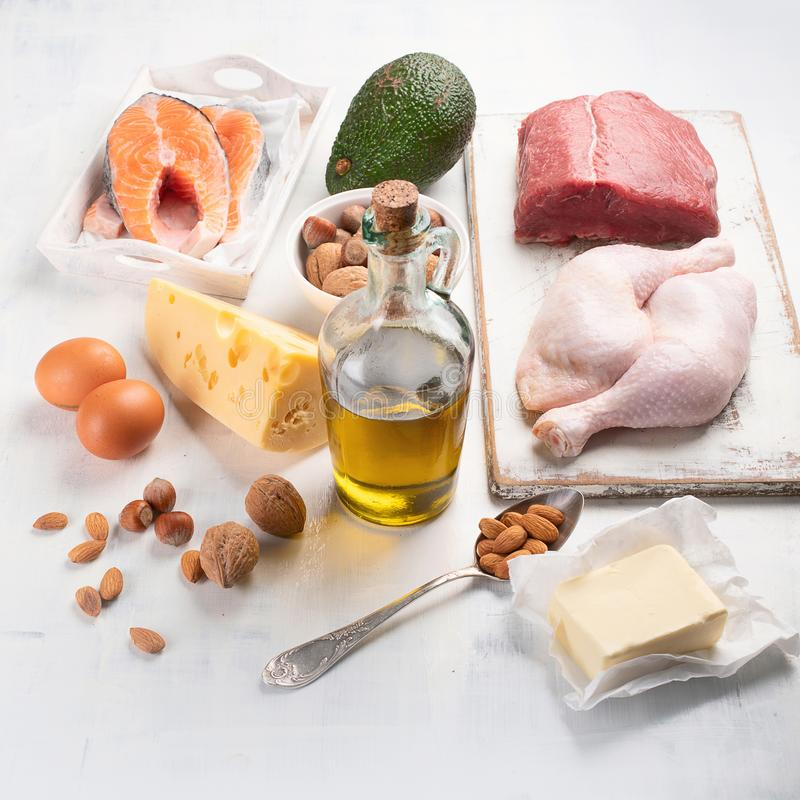 Ketogenic low carbs diet stock photos