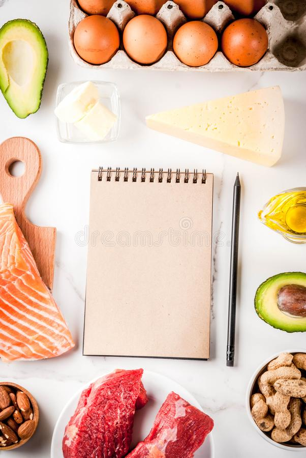 Ketogenic low carbs diet ingredients. Ketogenic low carbs diet concept. Healthy balanced food with high content of healthy fats. Diet for the heart and blood royalty free stock images