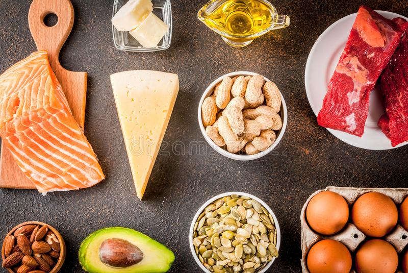 Ketogenic low carbs diet ingredients. Ketogenic low carbs diet concept. Healthy balanced food with high content of healthy fats. Diet for the heart and blood royalty free stock photos