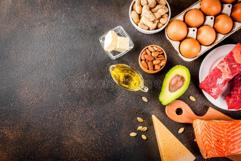 Ketogenic low carbs diet ingredients. Ketogenic low carbs diet concept. Healthy balanced food with high content of healthy fats. Diet for the heart and blood stock photography