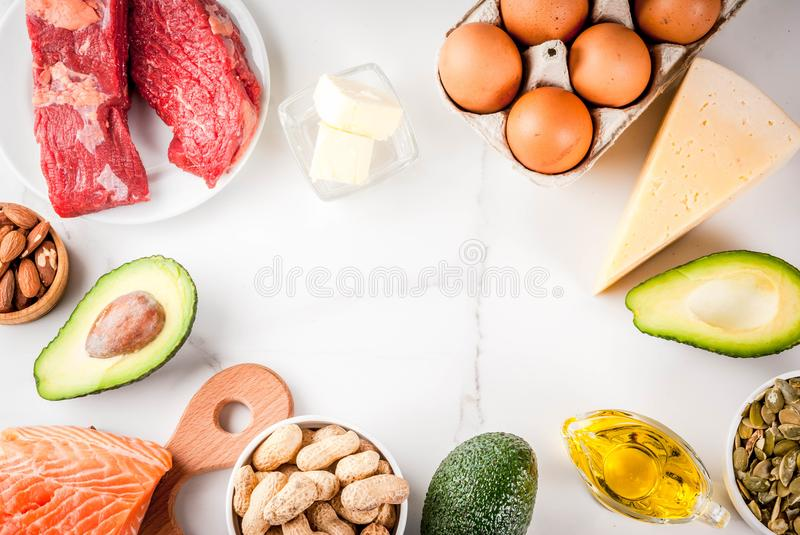Ketogenic low carbs diet ingredients. Ketogenic low carbs diet concept. Healthy balanced food with high content of healthy fats. Diet for the heart and blood stock images