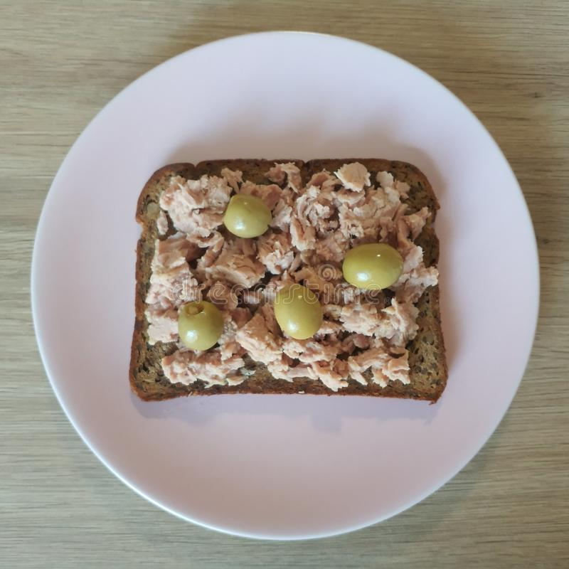 Ketogenic meal, tuna protein bread sandwich with olives. Keto food for weight loss. Healthy diet breakfast.  stock images
