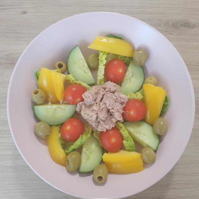 Ketogenic meal, tuna salad with tomatoes, bell pepper, cucumber, olives. Keto food for weight loss. Healthy diet dinner. Ketogenic meal, tuna salad with tomatoes royalty free stock photography