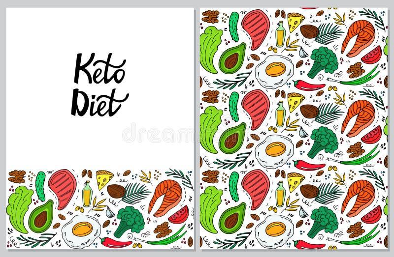 Ketogenic ter beschikking getrokken van de dieet verticale banner krabbelstijl Het lage carburator op dieet zijn Keto naadloos pa vector illustratie