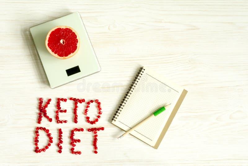 Keton, ketogenic Diätkonzepthintergrund Verspotten Sie oben für gesunden Gewichtsverlustmahlzeitplan stockfoto