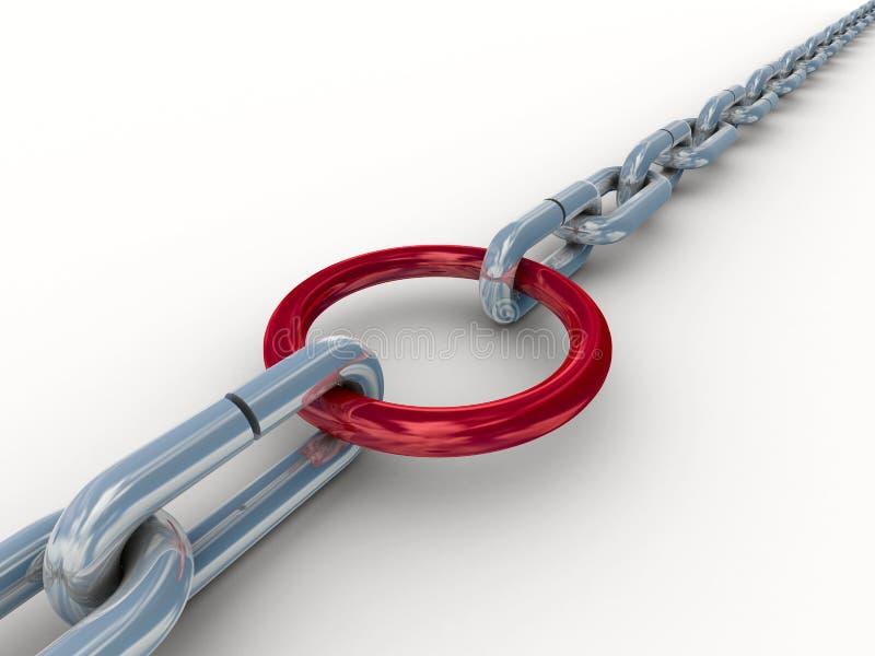Kette befestigt durch einen roten Ring. lizenzfreie abbildung