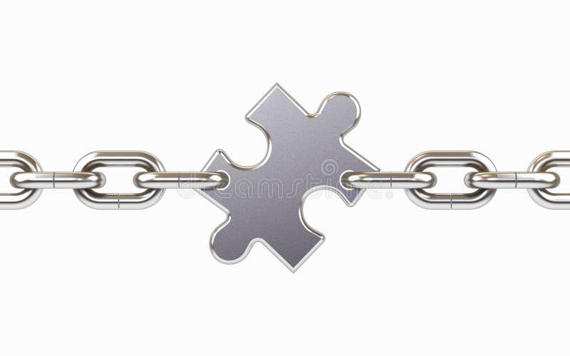 Kette mit Puzzlespiel. vektor abbildung