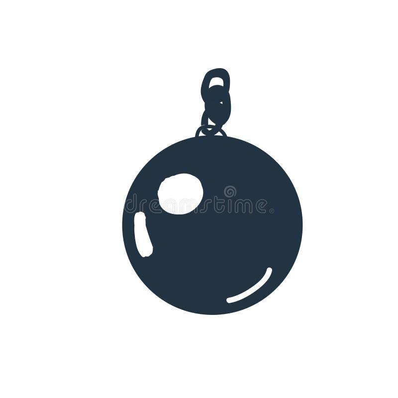 Kettenballikonenvektor lokalisiert auf weißem Hintergrund, Kettenball stock abbildung