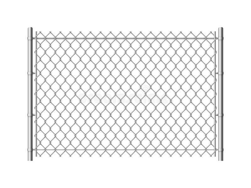 Kettenlink-Zaun Realistische Metallmasche z?unt der Drahtbaumetallische Beschaffenheit Stahlsicherheitswand industrielle Grenzein lizenzfreie abbildung