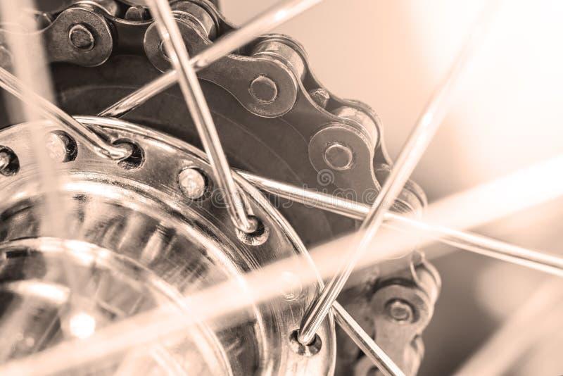 Kettenrad mit Kettenhinterrad des Fahrrades lizenzfreies stockbild