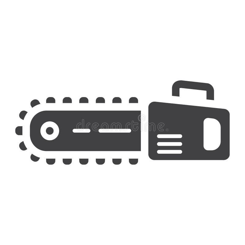 Kettensäge Glyphikone, -gestalt und -reparatur stock abbildung