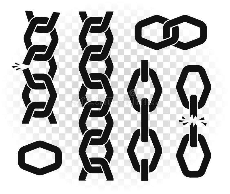 Kettenvektorschablonenillustration Vertikales Metall verbundene Elemente auf transparentem Hintergrund lizenzfreie abbildung