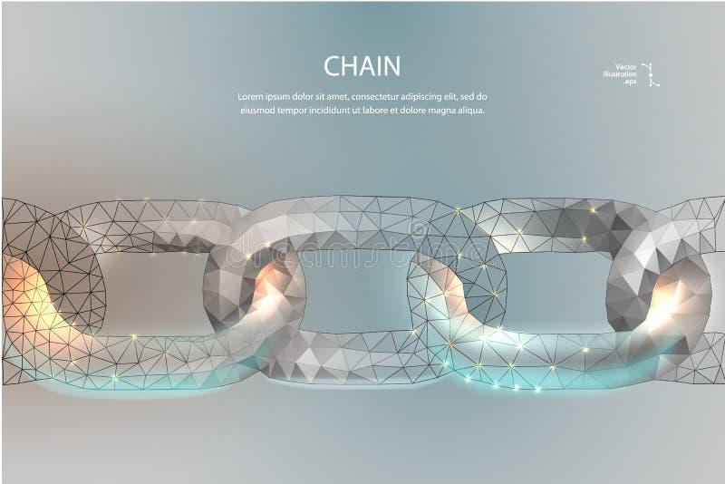 Ketting Blockchain lage poly vector illustratie