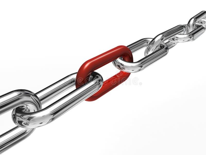 Ketting met rode link royalty-vrije illustratie