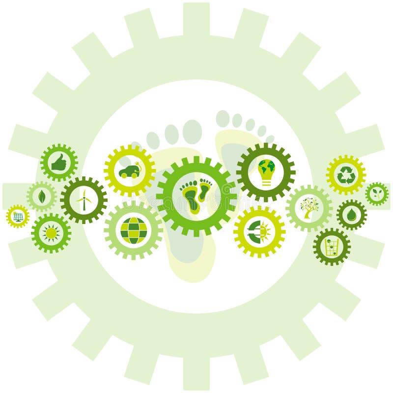 Ketting van toestelwielen met bioeco milieupictogrammen dat worden gevuld en stock illustratie