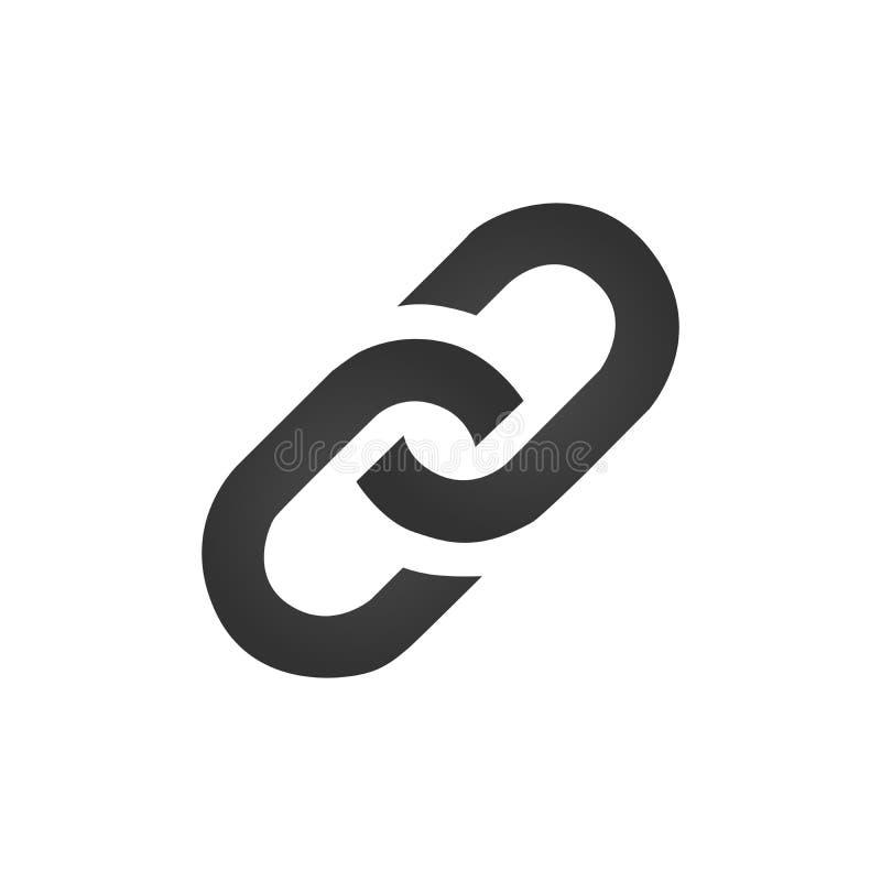 Ketting, vectordieillustratie van het verbindings de vlakke pictogram op witte achtergrond wordt geïsoleerd royalty-vrije illustratie